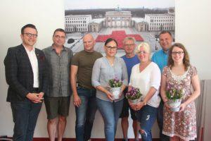 Foto v.l.n.r.: Paul Polyfka, Peter Krückel, Christian Strzoda, Diana Tielman, Franz Rötzer, Anett Gotter, Michael Karlstetter und Katharina Ruß.