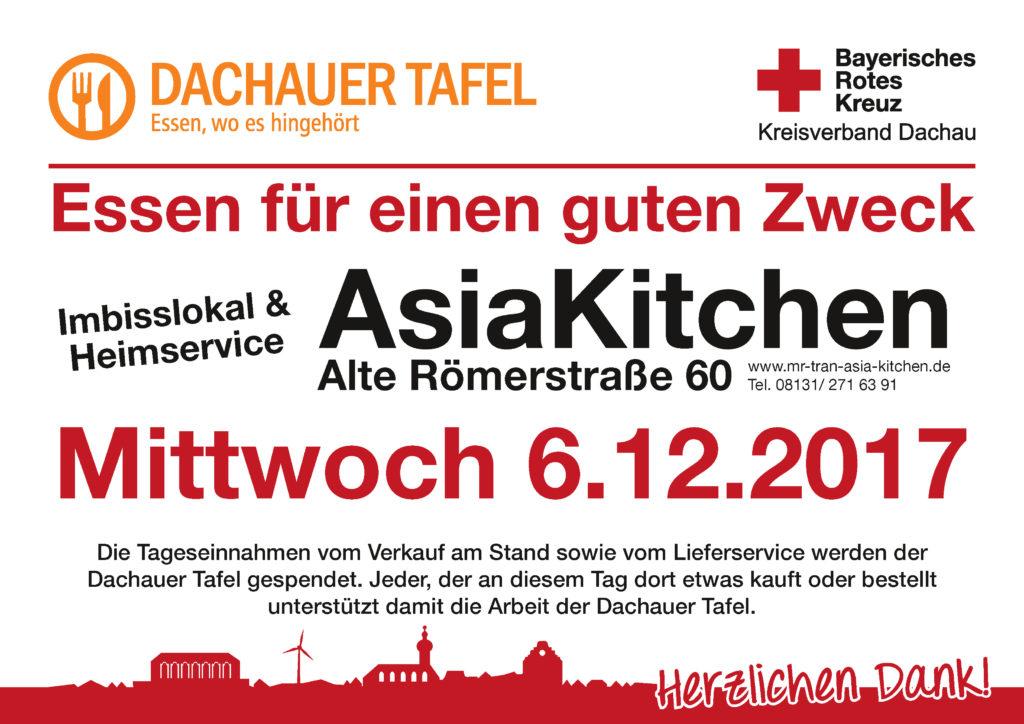 Bestellen Sie am 6.12.17 bei AsiaKitchen und unterstützen Sie damit die Dachauer Tafel.