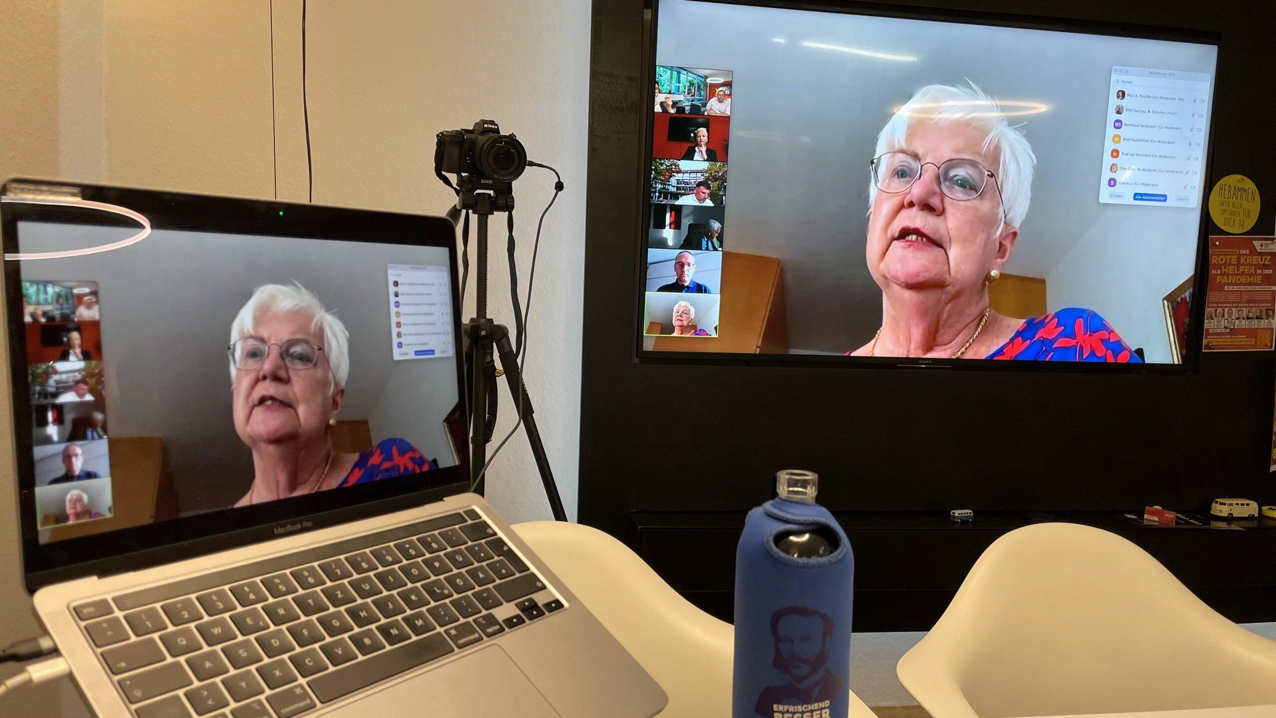 Online-Disskusionsrunde, im Bild: Gerda Hasselfeldt